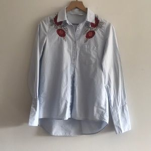 Zara Basic Button Down Shirt Embroidered Size S
